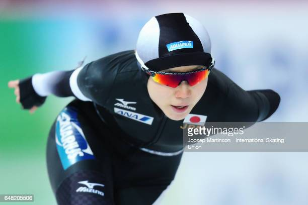 Miho Takagi of Japan competes in the Ladies 1500m during day two of the World Allround Speed Skating Championships at Hamar Olympic Hall on March 5...