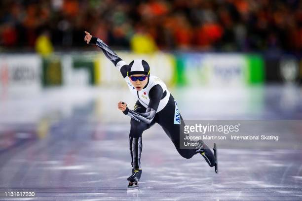 Miho Takagi of Japan competes in the Ladies 500m during day 1 of the ISU World Sprint Speed Skating Championships Heerenveen at Ice Rink Thialf on...