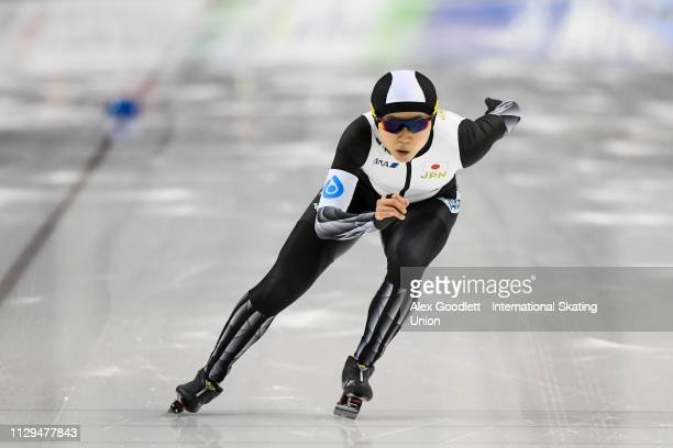 Miho Takagi of Japan competes in the women's 1000m duing the ISU World Cup Final at the Utah Olympic Oval on March 9 2019 in Salt Lake City Utah