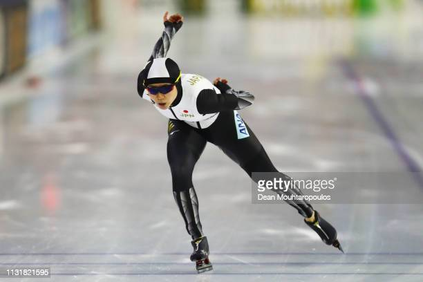 Miho Takagi of Japan competes in the Women's 1000m S[print during day 2 of the ISU World Sprint Speed Skating Championships Heerenveen at Ice Rink...