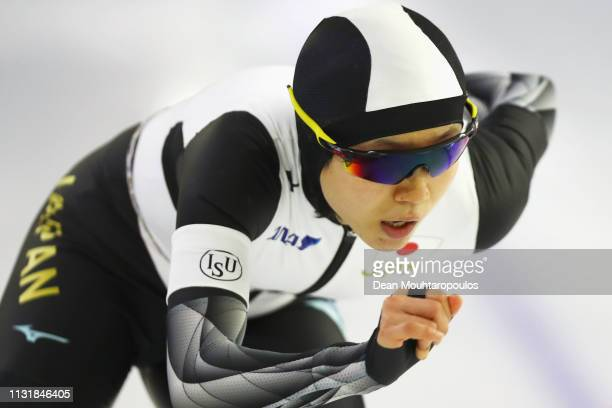 Miho Takagi of Japan competes in the Women's 1000m Sprint during day 2 of the ISU World Sprint Speed Skating Championships Heerenveen at Ice Rink...