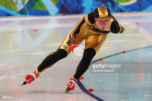 Miho Takagi of Japan competes in the women's speed skating 1500 m training held at Pacific Coliseum ahead of the Vancouver 2010 Winter Olympics on...