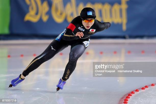 Miho Takagi of Japan competes the ladies 1000m Division A race of Day 1 of the ISU World Cup Speed Skating at Soermarka Arena on November 17 2017 in...