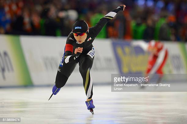 Miho Takagi of Japan competes the Ladies 500 M during day one of ISU Allround Speed Skating World Championship on March 5 2016 in Berlin Germany