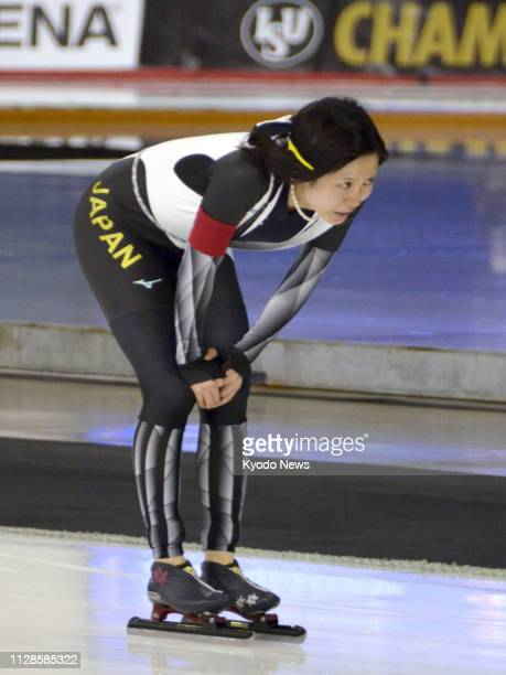 Miho Takagi of Japan looks dejected after settling for a silver medal at the World Allround Speed Skating Championships in Calgary Canada on March 3...