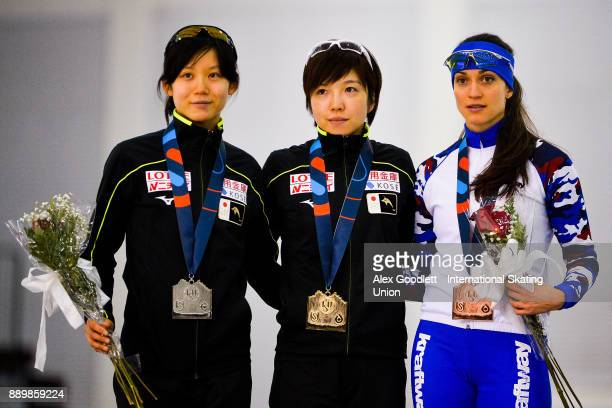 Miho Takagi of Japan Nao Kodaira of Japan and Yekaterina Shikhova of Russia stand on the podium after the ladies 1000 meter final during day 3 of the...