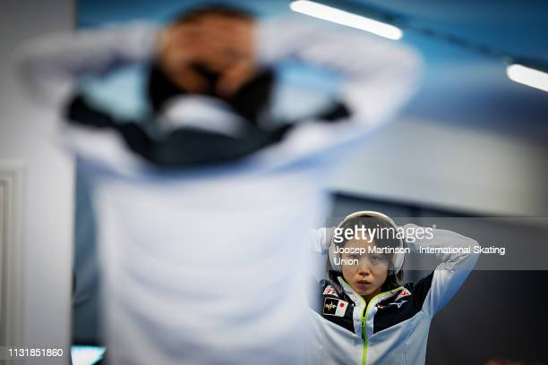 Miho Takagi of Japan prepares ahead of day two of the ISU World Sprint Speed Skating Championships Heerenveen at Ice Rink Thialf on February 24 2019...