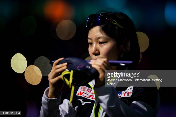 Miho Takagi of Japan prepares in the Ladies 1000m during day two of the ISU World Sprint Speed Skating Championships Heerenveen at Ice Rink Thialf on...