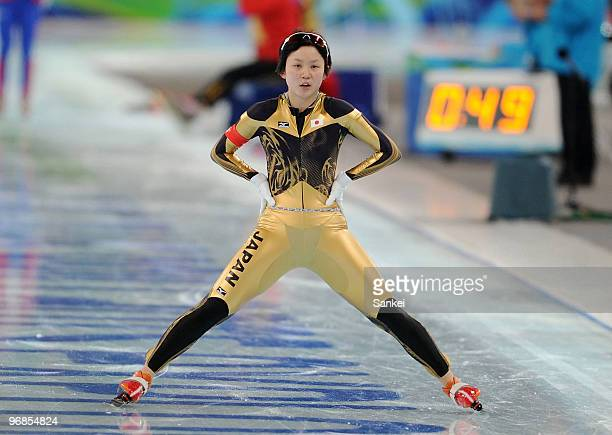 Miho Takagi of Japan reacts after competing in the women's speed skating 1000 m final on day 7 of the Vancouver 2010 Winter Olympics at Richmond...