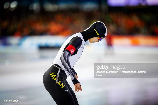 Miho Takagi of Japan reacts in the Ladies 1000m during day 1 of the ISU World Sprint Speed Skating Championships Heerenveen at Ice Rink Thialf on...