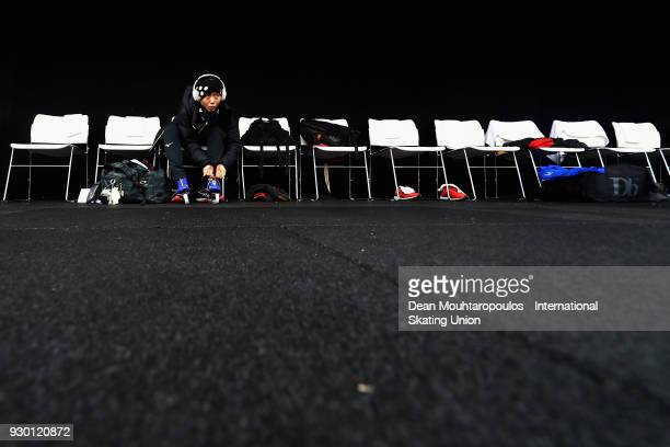 Miho Takagi of Japan warms up prior to the World Allround Speed Skating Championships at the Olympic Stadium on March 10 2018 in Amsterdam Netherlands