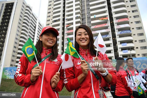 Miho Teramura and Tomomi Aoki of Team of Japan for Rio Janeiro 2016 Olympic Games pose after their welcome ceremony at the athletes' village on...