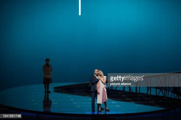 Mihoko Fujimura as Haruko , Susanne Elmark as Claudia and Bejun Mehta as Stephan perform on stage during a rehearsal of the opera 'Stilles Meer' in...