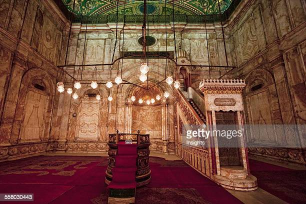 Mihrab And Minbar In The Prayer Hall Of The Mohammed Ali Mosque In The Citadel Of Cairo Al Qahirah Egypt