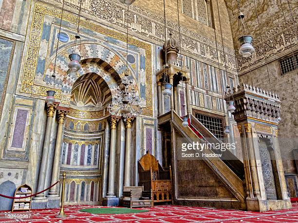 mihrab and minbar of sultan hassan mosque - sultan hassan mosque stock pictures, royalty-free photos & images