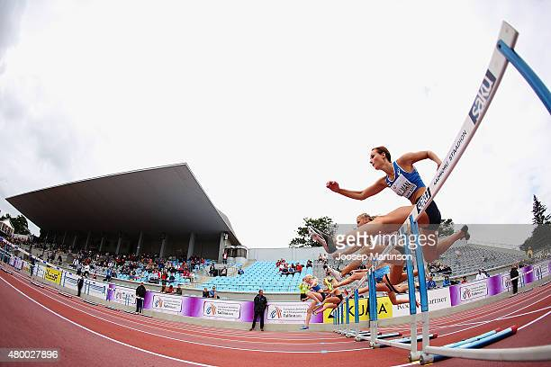 Miia Sillman of Finland competes in the Heptathlon 100m Hurdles during day one of the European Athletics U23 Championships at Kadriorg Stadium on...