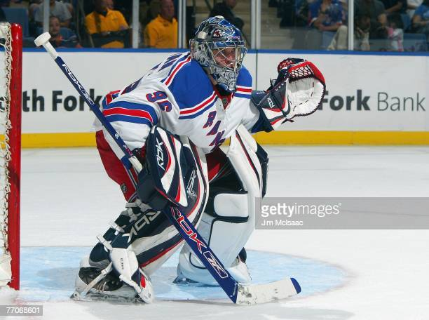Miika Wiikman of the New York Rangers defends the net against the New York Islanders during their NHL preseason game on September 24 2007 at Nassau...