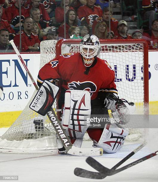 Miikka Kiprusoff of the Calgary Flames defends the net against the Detroit Red Wings in Game 6 of the 2007 Western Conference Quarterfinals at...