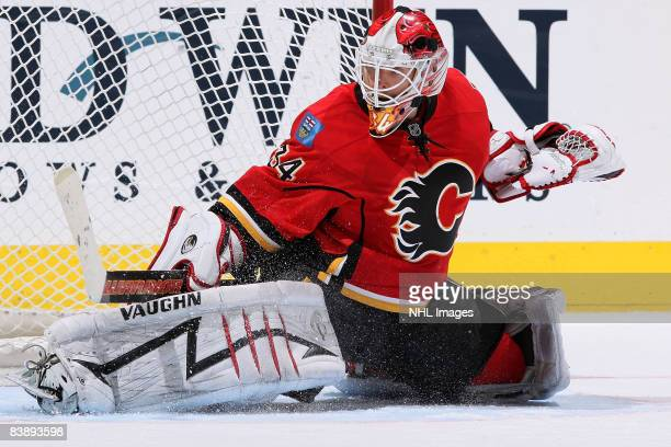 Miikka Kiprusoff of the Calgary Flames makes a save against the Dallas Stars on December 2, 2008 at Pengrowth Saddledome in Calgary, Alberta, Canada.