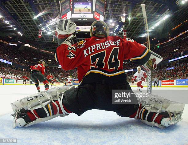 Miikka Kiprusoff of the Calgary Flames makes a save off the shot of Brendan Shanahan of the Detroit Red Wings during the second period of game three...