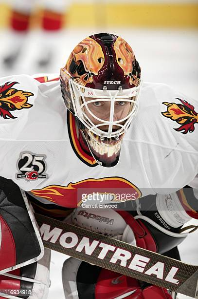 Miikka Kiprusoff of the Calgary Flames prior to the game against the Colorado Avalanche on January 24 2006 at the Pepsi Center in Denver Colorado