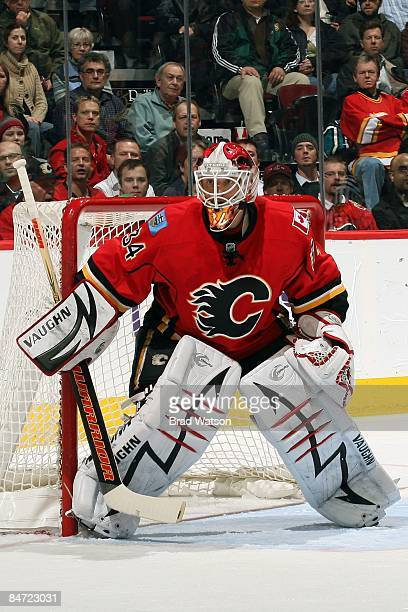 Miikka Kiprusoff of the Calgary Flames skates in net against the Chicago Blackhawks on February 5 2009 at Pengrowth Saddledome in Calgary Alberta...