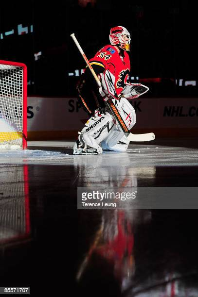 Miikka Kiprusoff of the Calgary Flames skates in the warmup before the game against the Detroit Red Wings on March 23, 2009 at Pengrowth Saddledome...
