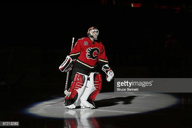Miikka Kiprusoff of the Calgary Flames takes the ice prior to the game against the Los Angeles Kings on March 29 2006 at the Pengrowth Saddledome in...