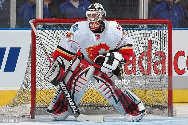 Miikka Kiprusoff of the Calgary Flames warms up before a game against the Edmonton Oilers at Rexall Place on April 1 2008 in Edmonton Alberta Canada