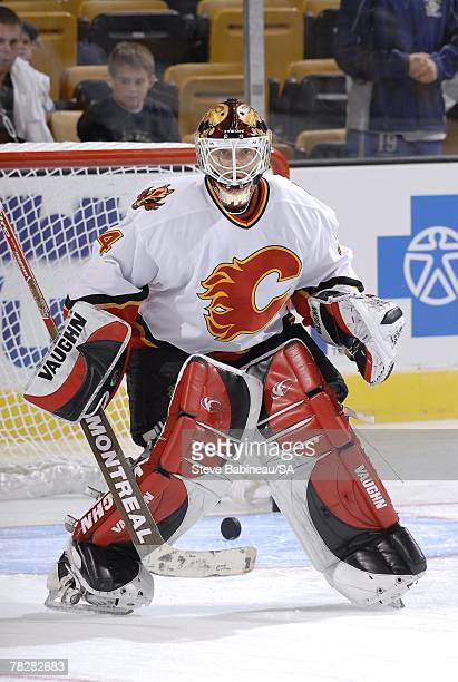 Miikka Kiprusoff of the Calgary Flames warms up before the game against the Boston Bruins at the TD Banknorth Garden on October 19 2006 in Boston...
