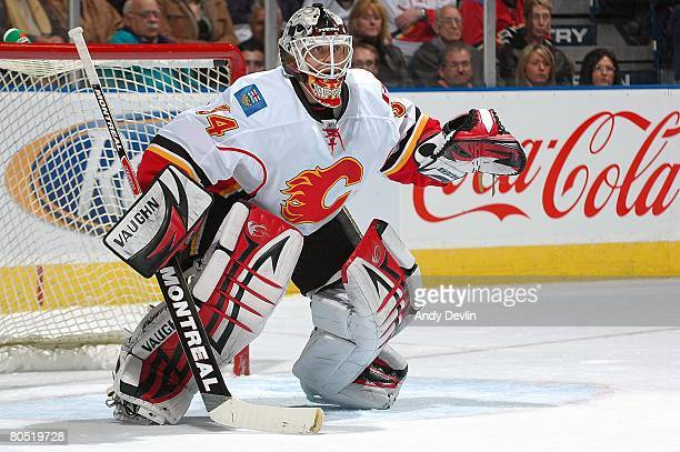 Miikka Kiprusoff of the Calgary Flames watches the puck during a game against the Edmonton Oilers at Rexall Place on April 1 2008 in Edmonton Alberta...