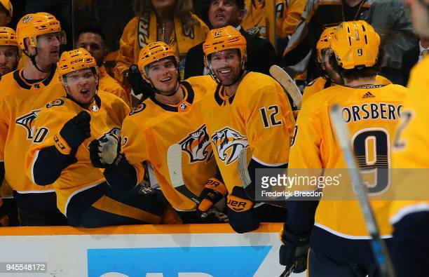 Miikka Salomaki Kevin Fiala and Mike Fisher celebrate with teammate Filip Forsberg of the Nashville Predators after a Forsberg goal against the...