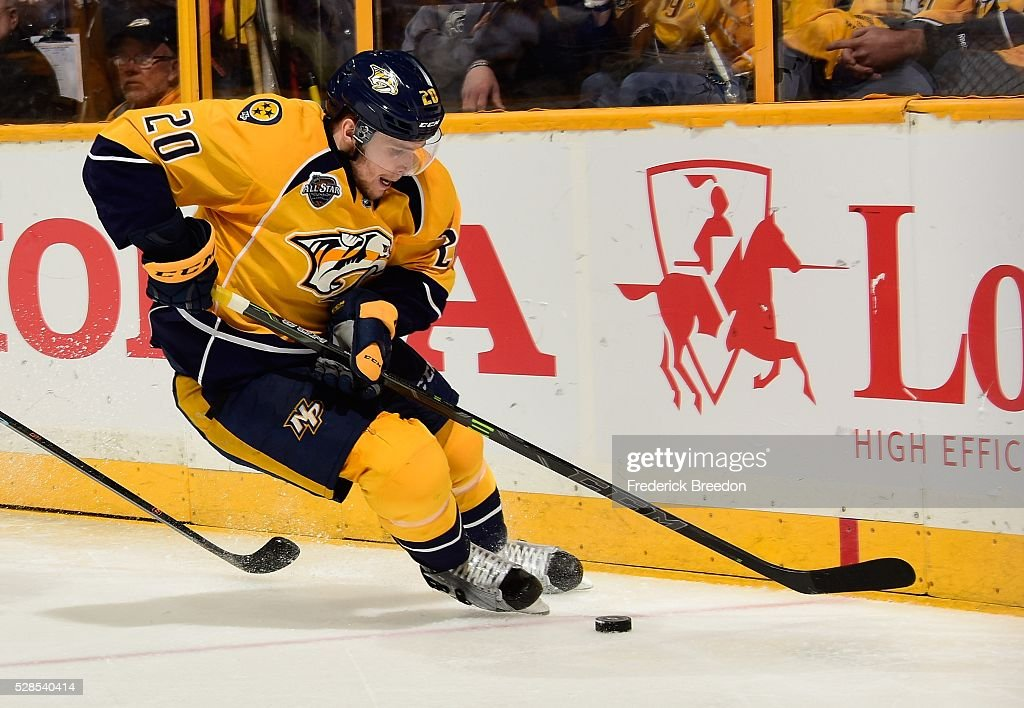 Miikka Salomaki #20 of the Nashville Predators skates against the San Jose Sharks during the third period of Game Four of the Western Conference Second Round during the 2016 NHL Stanley Cup Playoffs at Bridgestone Arena on May 5, 2016 in Nashville, Tennessee.