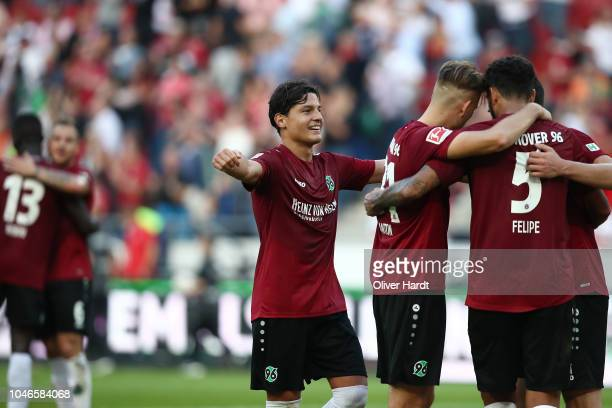 Miiko Albornoz and his team mates of Hannover celebrate after the Bundesliga match between Hannover 96 and VfB Stuttgart at HDI-Arena on October 6,...