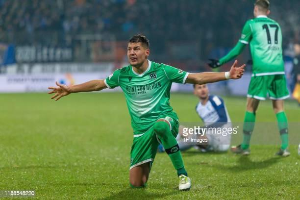 Miiko Albornoz of Hannover 96 gestures during the Bundesliga match between VfL Bochum 1848 and Hannover 96 at Vonovia Ruhrstadion on December 13,...