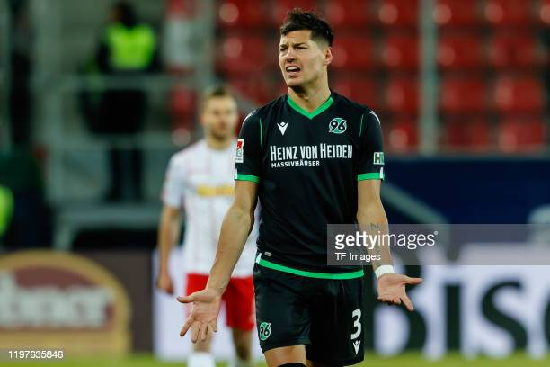 Miiko Albornoz of Hannover 96 gestures during the Second Bundesliga match between SSV Jahn Regensburg and Hannover 96 at Continental Arena on January...