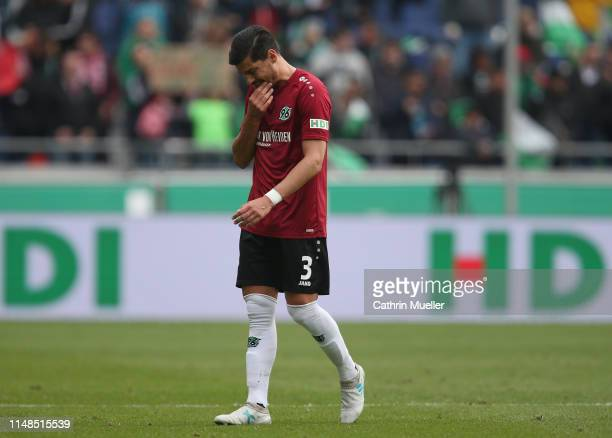 Miiko Albornoz of Hannover 96 is disappointed of being relegated after the Bundesliga match between Hannover 96 and Sport-Club Freiburg at HDI-Arena...