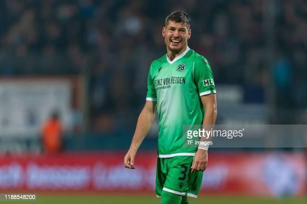 Miiko Albornoz of Hannover 96 laughs during the Bundesliga match between VfL Bochum 1848 and Hannover 96 at Vonovia Ruhrstadion on December 13, 2019...