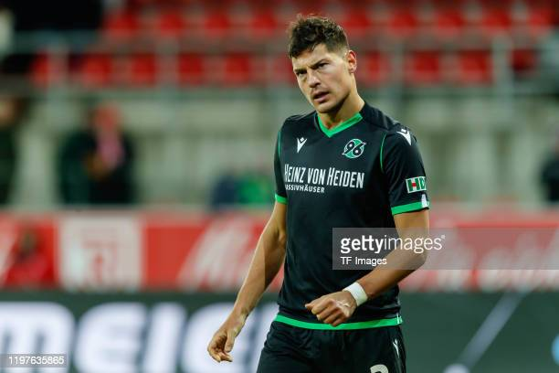 Miiko Albornoz of Hannover 96 looks on during the Second Bundesliga match between SSV Jahn Regensburg and Hannover 96 at Continental Arena on January...