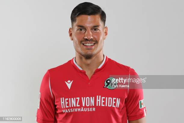 Miiko Albornoz of Hannover 96 poses during the team presentation at HDI-Arena on July 18, 2019 in Hanover, Germany.