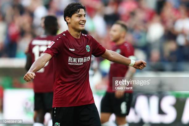 Miiko Albornoz of Hannover celebrate after the Bundesliga match between Hannover 96 and VfB Stuttgart at HDIArena on October 6 2018 in Hanover Germany