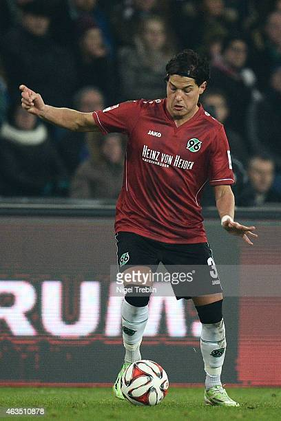 Miiko Albornoz of Hannover controls the ball during the Bundesliga match between Hannover 96 and SC Paderborn 07 at HDI-Arena on February 15, 2015 in...
