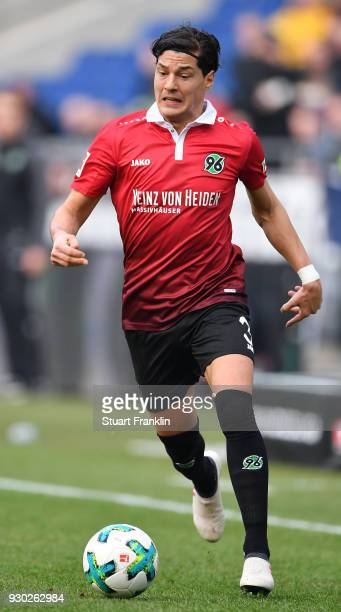 Miiko Albornoz of Hannover in action during the Bundesliga match between Hannover 96 and FC Augsburg at HDIArena on March 10 2018 in Hanover Germany
