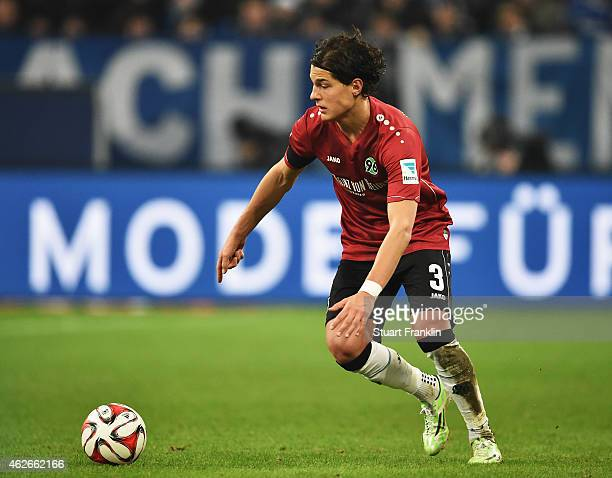 Miiko Albornoz of Hannover in action during the Bundesliga match between FC Schalke 04 and Hannover 96 at Veltins Arena on January 31, 2015 in...