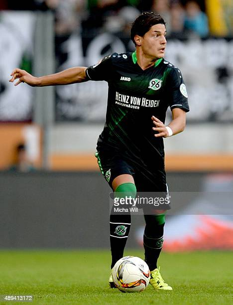Miiko Albornoz of Hannover in action during the Bundesliga match between FC Augsburg and Hannover 96 at WWK Arena on September 20, 2015 in Augsburg,...
