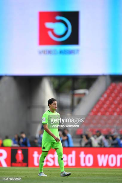 Miiko Albornoz of Hannover leaves the field after seeing the red card with the help of video assist during the Bundesliga match between 1. FC...