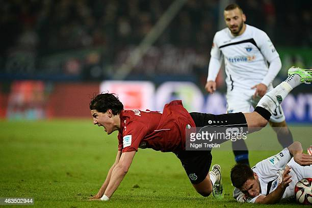 Miiko Albornoz of Hannover reacts after the Bundesliga match between Hannover 96 and SC Paderborn 07 at HDI-Arena on February 15, 2015 in Hanover,...