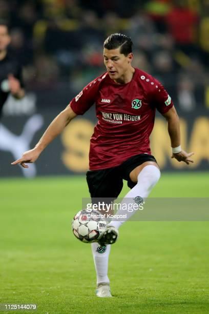 Miiko Albornoz of Hannover runs with the ball during the Bundesliga match between Borussia Dortmund and Hannover 96 at Signal Iduna Park on January...