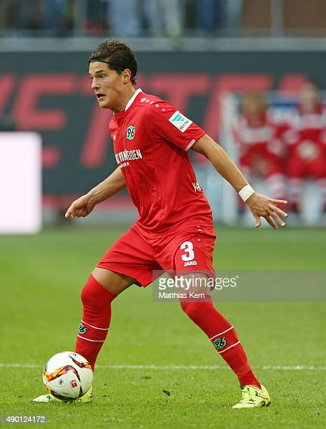 Miiko Albornoz of Hannover runs with the ball during the Bundesliga match between VFL Wolfsburg and Hannover 96 at Volkswagen Arena on September 26,...
