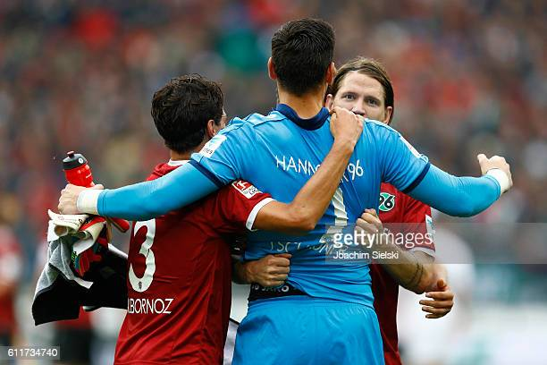 Miiko Albornoz Philipp Tschauner and Stefan Strandberg of Hannover celebrates after the Second Bundesliga match between Hannover 96 and FC St Pauli...